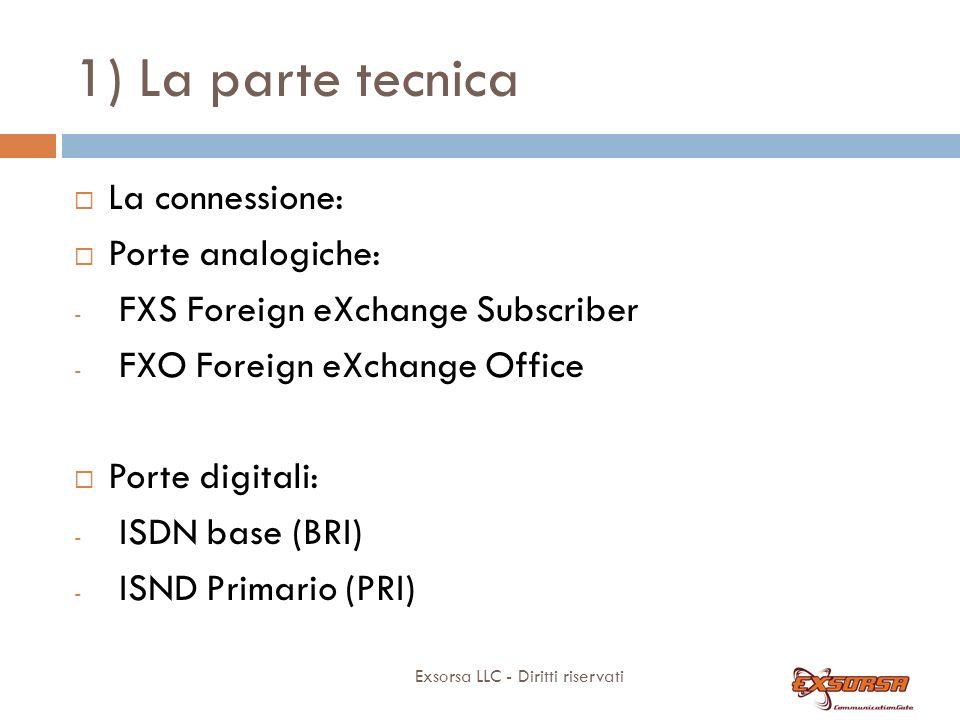 1) La parte tecnica Exsorsa LLC - Diritti riservati La connessione: Porte analogiche: - FXS Foreign eXchange Subscriber - FXO Foreign eXchange Office Porte digitali: - ISDN base (BRI) - ISND Primario (PRI)