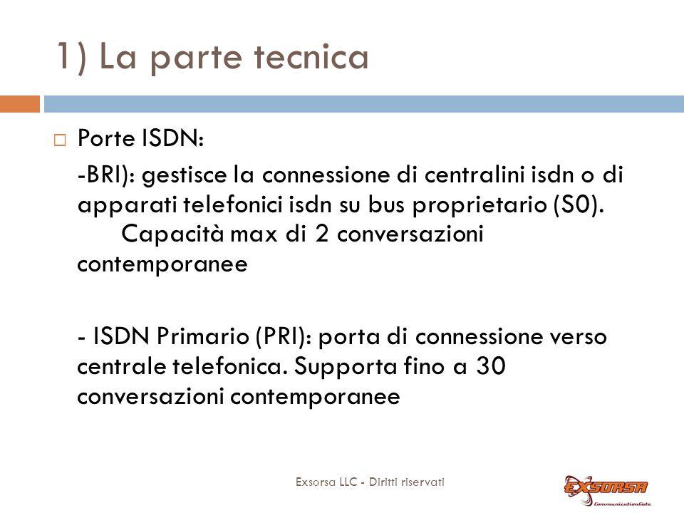 1) La parte tecnica Exsorsa LLC - Diritti riservati Porte ISDN: -BRI): gestisce la connessione di centralini isdn o di apparati telefonici isdn su bus proprietario (S0).