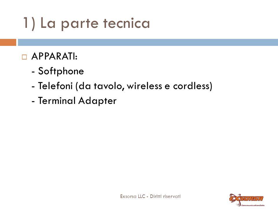 1) La parte tecnica Exsorsa LLC - Diritti riservati APPARATI: - Softphone - Telefoni (da tavolo, wireless e cordless) - Terminal Adapter