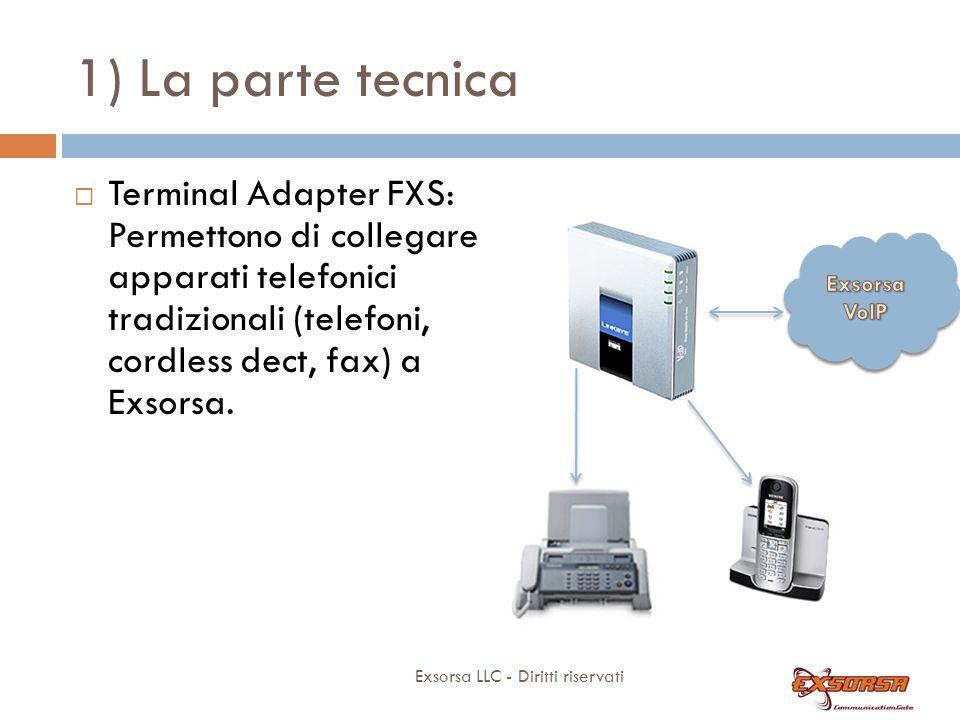 1) La parte tecnica Exsorsa LLC - Diritti riservati Terminal Adapter FXS: Permettono di collegare apparati telefonici tradizionali (telefoni, cordless dect, fax) a Exsorsa.