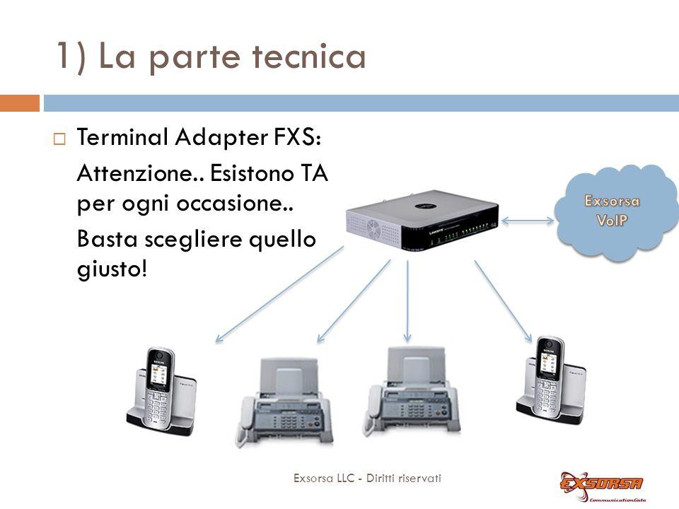 1) La parte tecnica Exsorsa LLC - Diritti riservati Terminal Adapter FXS: Attenzione.. Esistono TA per ogni occasione.. Basta scegliere quello giusto!