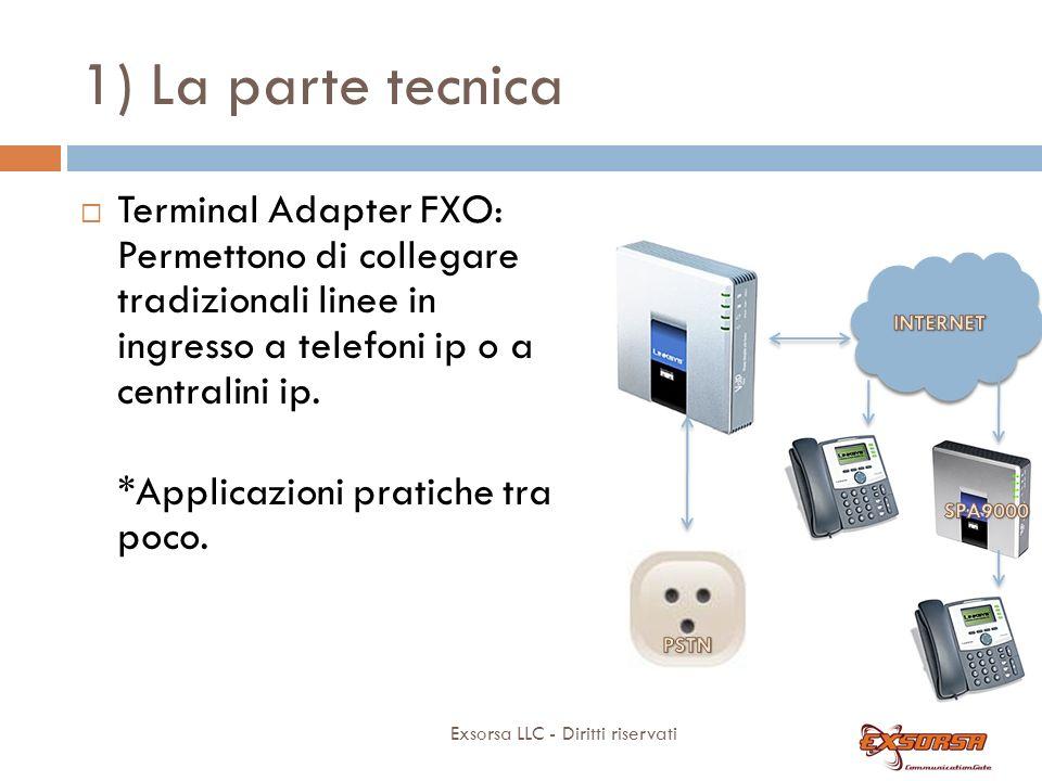 1) La parte tecnica Exsorsa LLC - Diritti riservati Terminal Adapter FXO: Permettono di collegare tradizionali linee in ingresso a telefoni ip o a centralini ip.