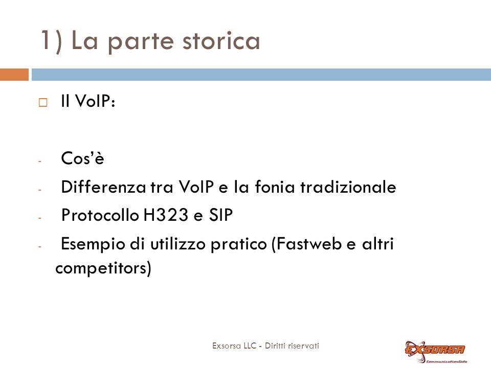 1) La parte storica Exsorsa LLC - Diritti riservati Il VoIP: - Cosè - Differenza tra VoIP e la fonia tradizionale - Protocollo H323 e SIP - Esempio di utilizzo pratico (Fastweb e altri competitors)