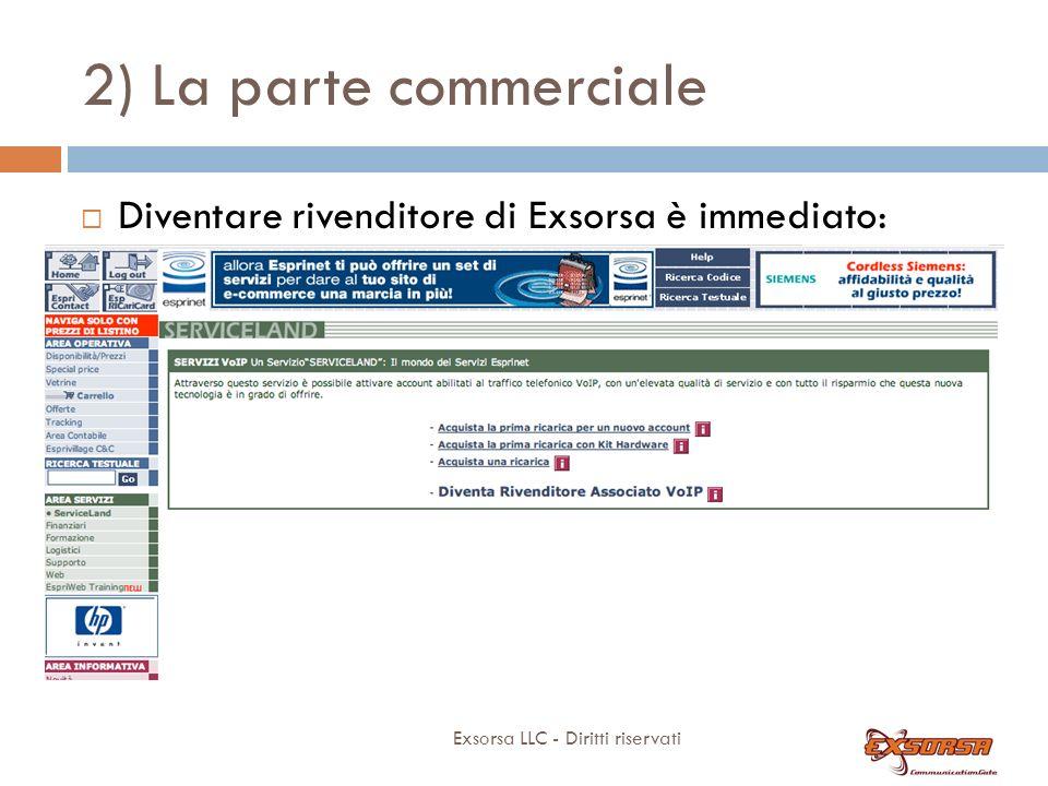 2) La parte commerciale Exsorsa LLC - Diritti riservati Diventare rivenditore di Exsorsa è immediato: