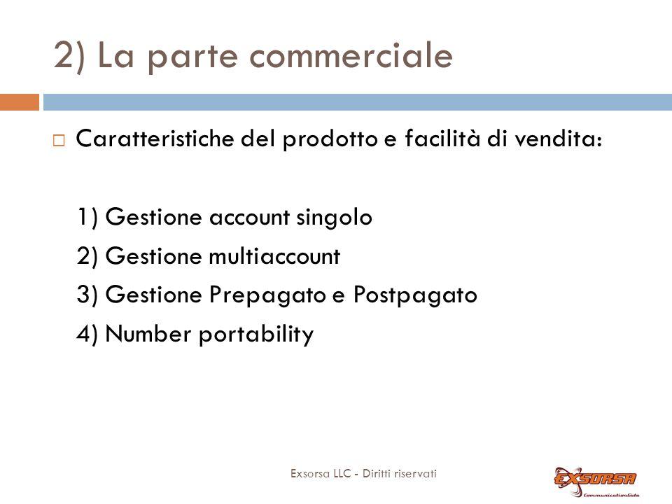 2) La parte commerciale Exsorsa LLC - Diritti riservati Caratteristiche del prodotto e facilità di vendita: 1) Gestione account singolo 2) Gestione mu