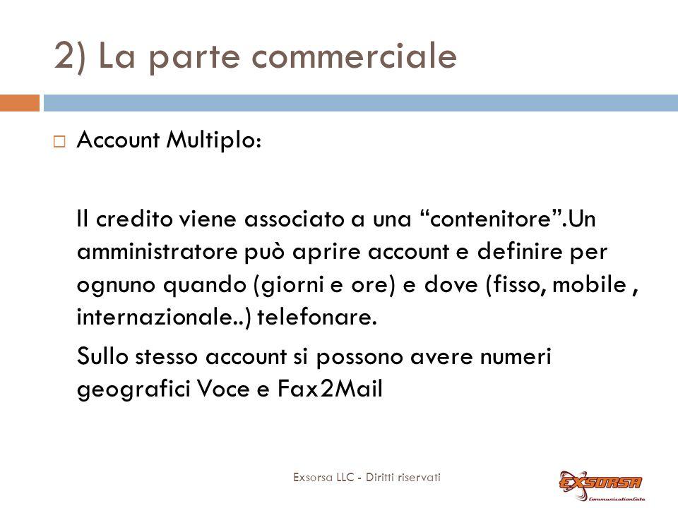 2) La parte commerciale Exsorsa LLC - Diritti riservati Account Multiplo: Il credito viene associato a una contenitore.Un amministratore può aprire account e definire per ognuno quando (giorni e ore) e dove (fisso, mobile, internazionale..) telefonare.