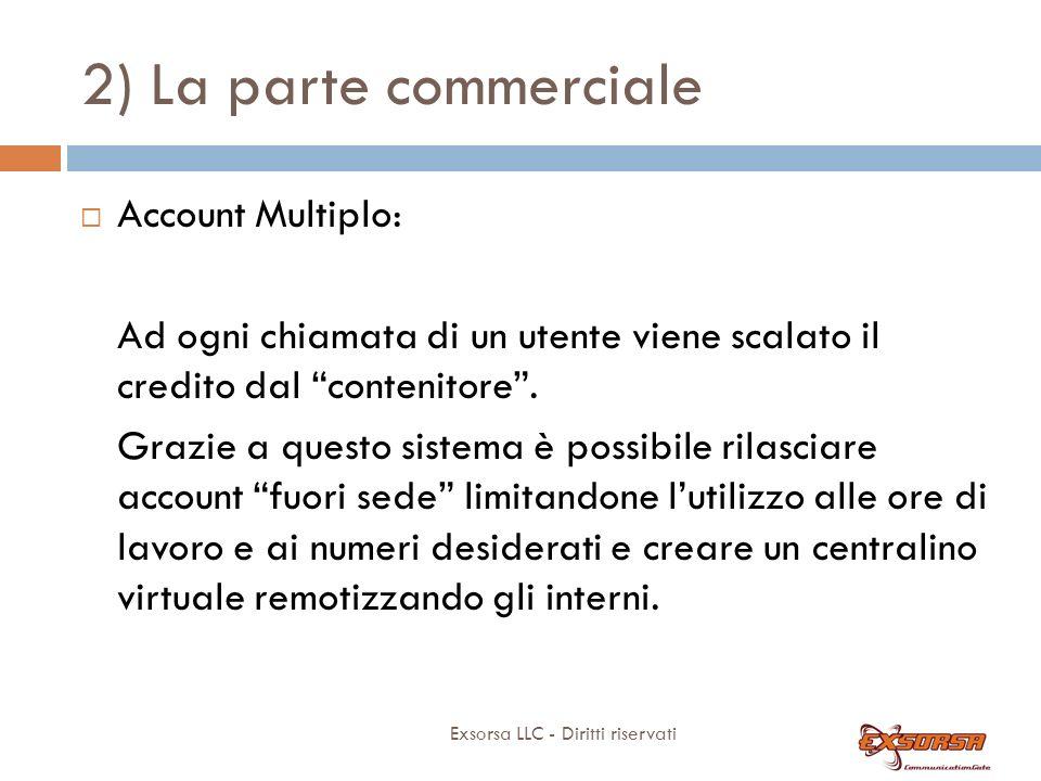 2) La parte commerciale Exsorsa LLC - Diritti riservati Account Multiplo: Ad ogni chiamata di un utente viene scalato il credito dal contenitore.