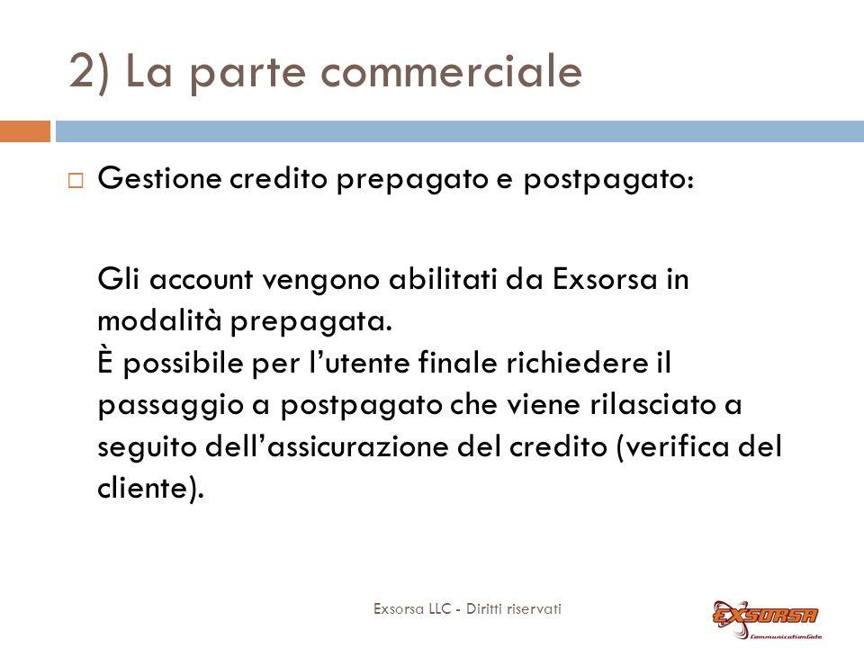2) La parte commerciale Exsorsa LLC - Diritti riservati Gestione credito prepagato e postpagato: Gli account vengono abilitati da Exsorsa in modalità prepagata.