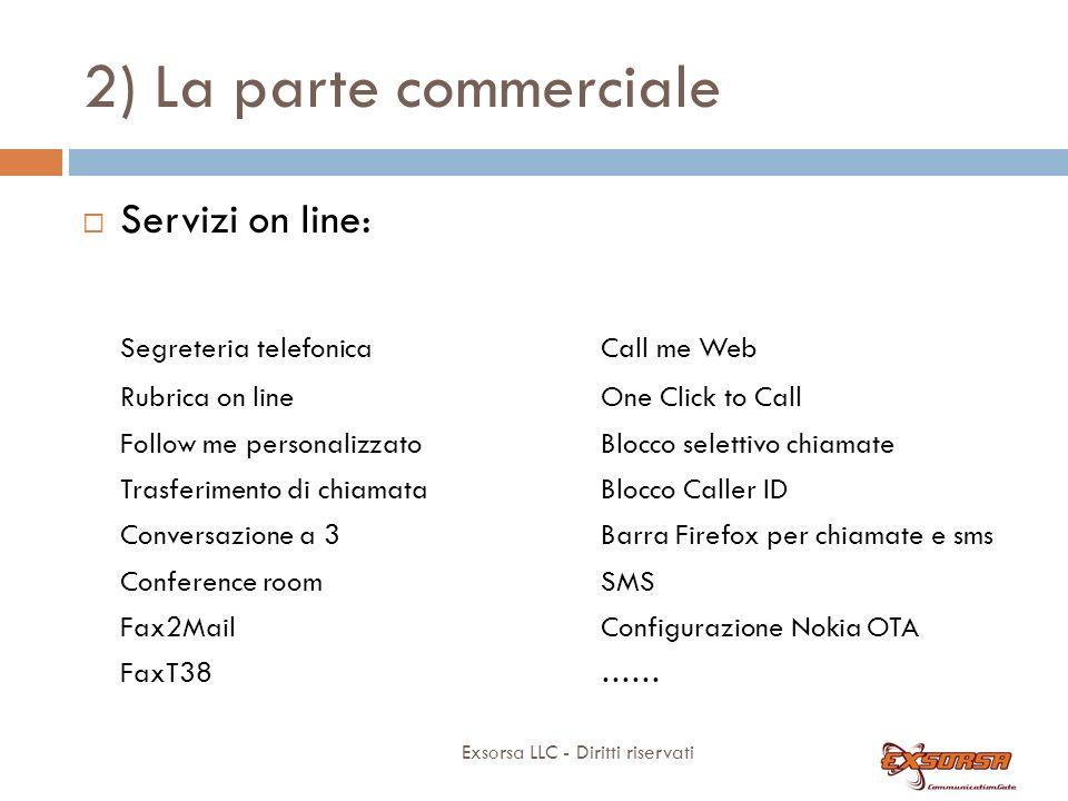 2) La parte commerciale Exsorsa LLC - Diritti riservati Servizi on line: Segreteria telefonica Rubrica on line Follow me personalizzato Trasferimento
