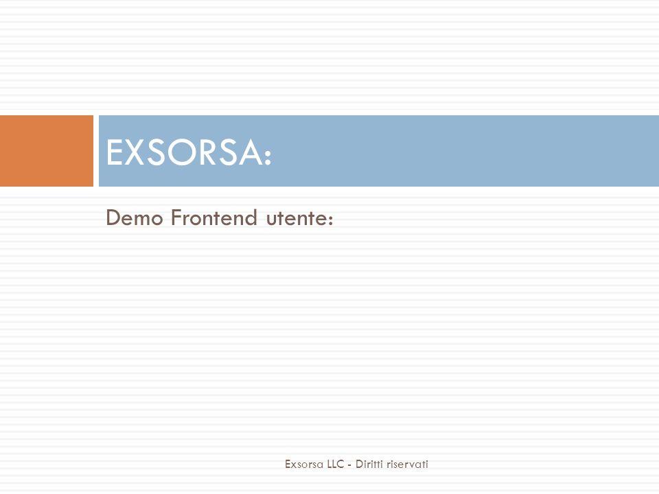 Demo Frontend utente: EXSORSA: Exsorsa LLC - Diritti riservati