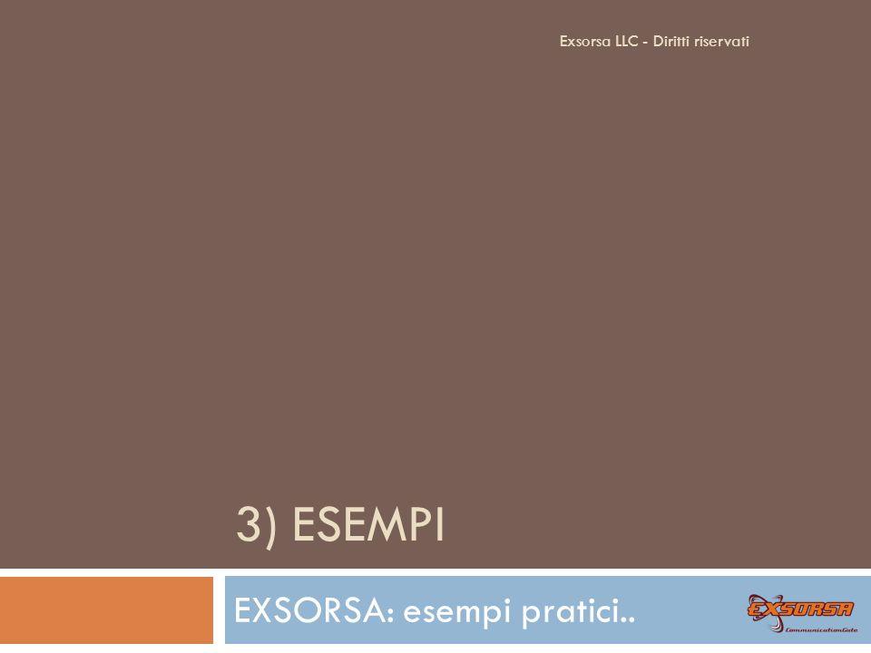 3) ESEMPI EXSORSA: esempi pratici.. Exsorsa LLC - Diritti riservati