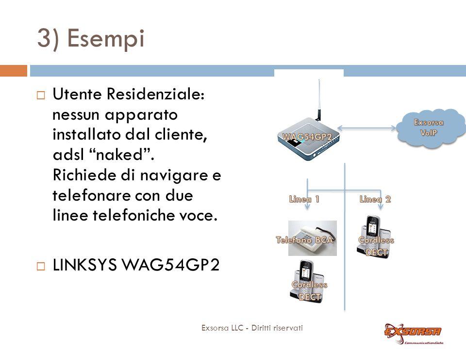 3) Esempi Exsorsa LLC - Diritti riservati Utente Residenziale: nessun apparato installato dal cliente, adsl naked.
