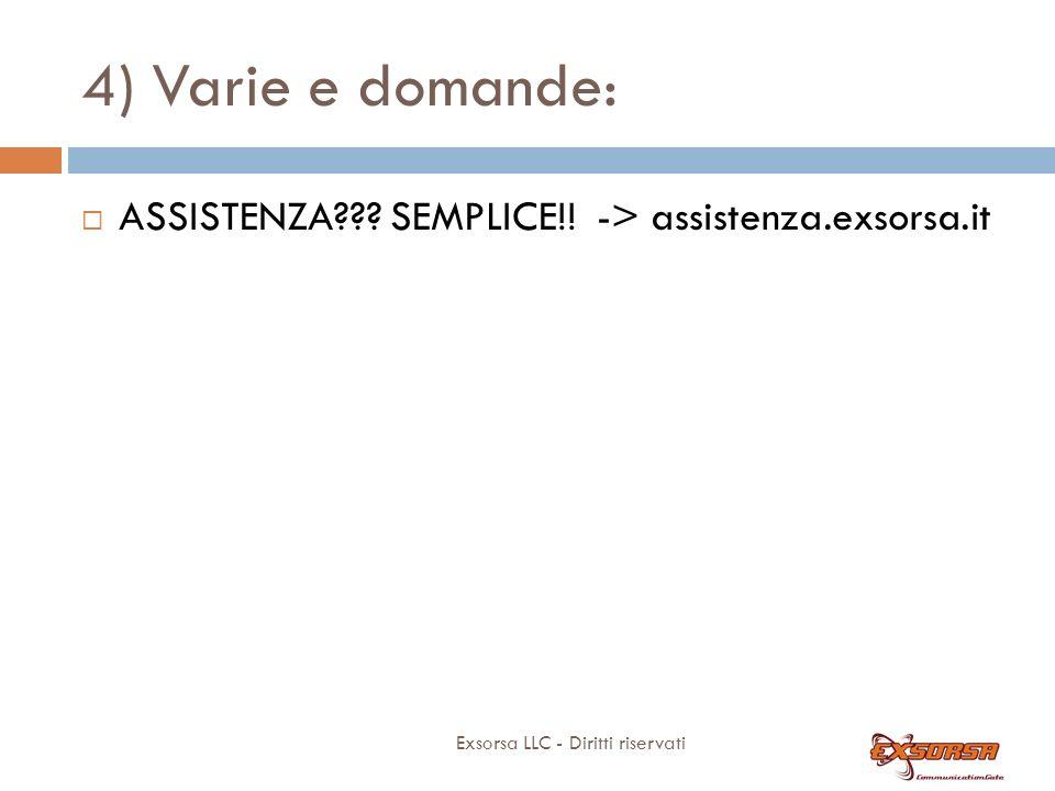 4) Varie e domande: Exsorsa LLC - Diritti riservati ASSISTENZA??.