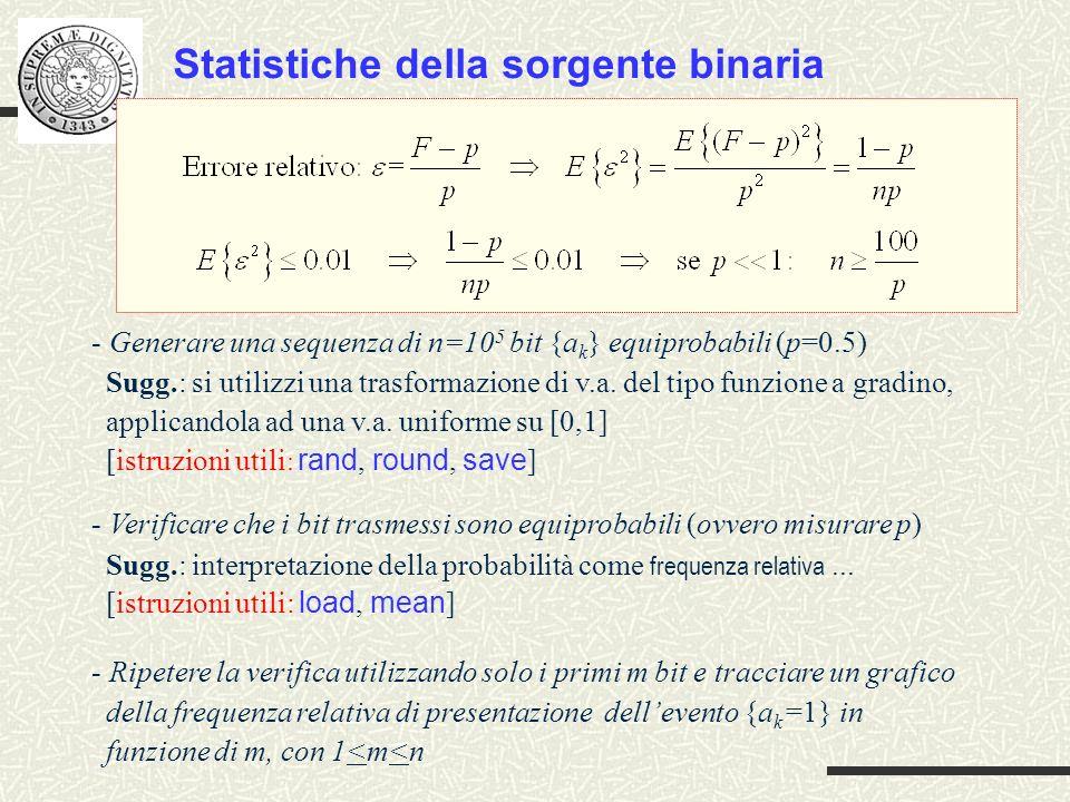 Statistiche della sorgente binaria - Generare una sequenza di n=10 5 bit {a k } equiprobabili (p=0.5) Sugg.: si utilizzi una trasformazione di v.a. de