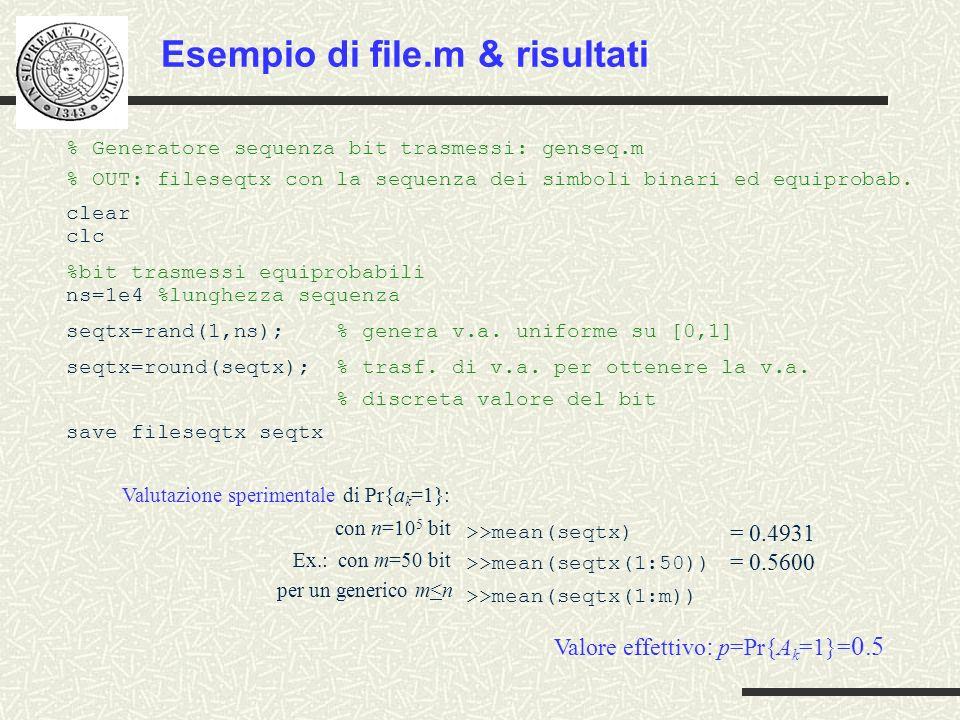Esempio di file.m & risultati % Generatore sequenza bit trasmessi: genseq.m % OUT: fileseqtx con la sequenza dei simboli binari ed equiprobab. clear c