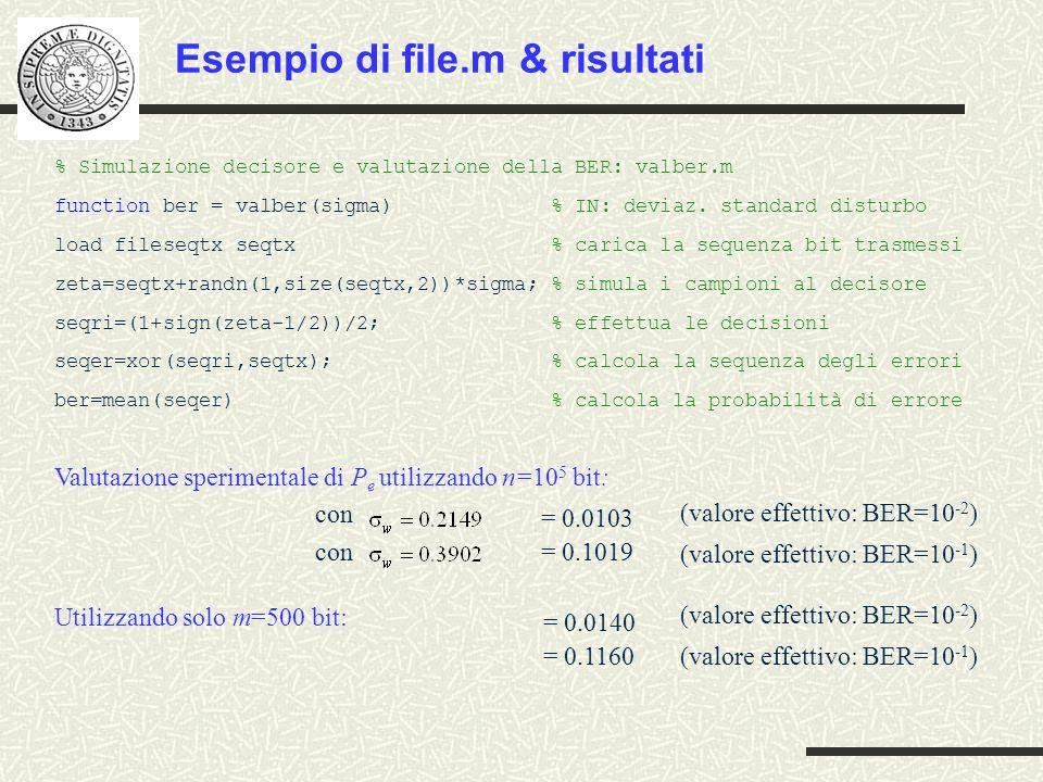 % Simulazione decisore e valutazione della BER: valber.m function ber = valber(sigma) % IN: deviaz. standard disturbo load fileseqtx seqtx % carica la