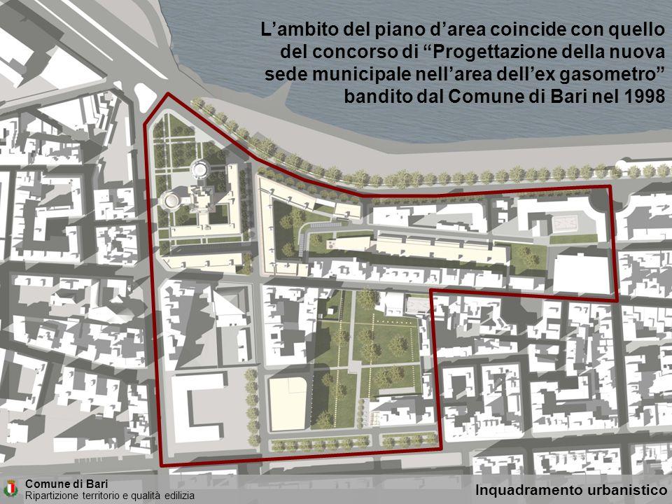 Lambito del piano darea coincide con quello del concorso di Progettazione della nuova sede municipale nellarea dellex gasometro bandito dal Comune di