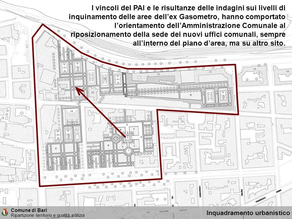 I vincoli del PAI e le risultanze delle indagini sui livelli di inquinamento delle aree dellex Gasometro, hanno comportato lorientamento dellAmministr