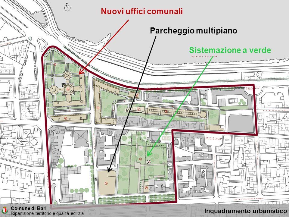 Comune di Bari Ripartizione territorio e qualità edilizia Inquadramento urbanistico Nuovi uffici comunali Parcheggio multipiano Sistemazione a verde