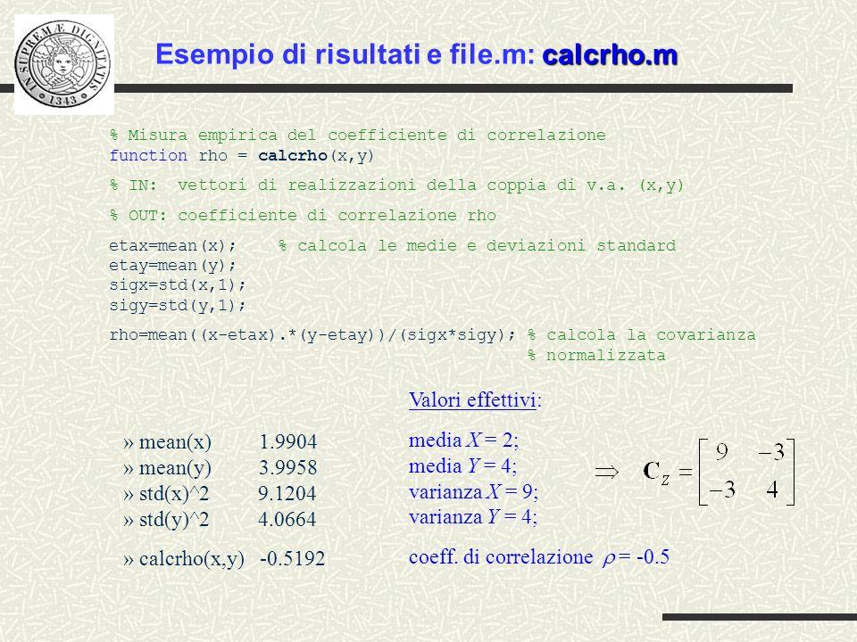» mean(x) 1.9904 » mean(y) 3.9958 » std(x)^2 9.1204 » std(y)^2 4.0664 » calcrho(x,y) -0.5192 % Misura empirica del coefficiente di correlazione functi