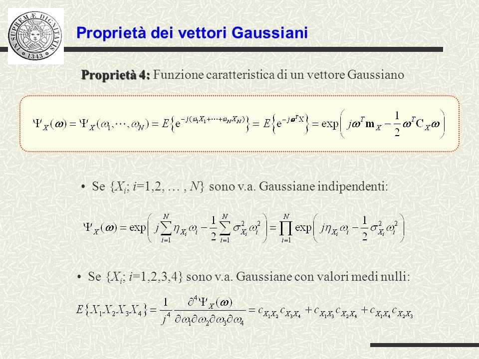 Proprietà dei vettori Gaussiani Se {X i ; i=1,2,3,4} sono v.a. Gaussiane con valori medi nulli: Proprietà 4: Proprietà 4: Funzione caratteristica di u