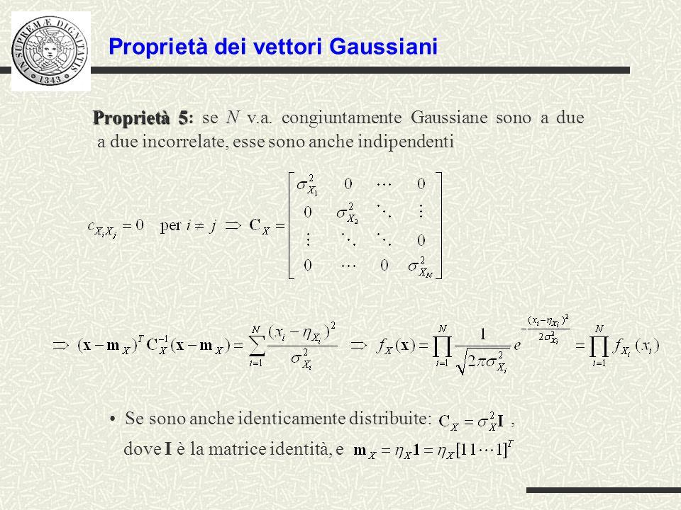 Proprietà dei vettori Gaussiani Proprietà 5 Proprietà 5: se N v.a. congiuntamente Gaussiane sono a due a due incorrelate, esse sono anche indipendenti