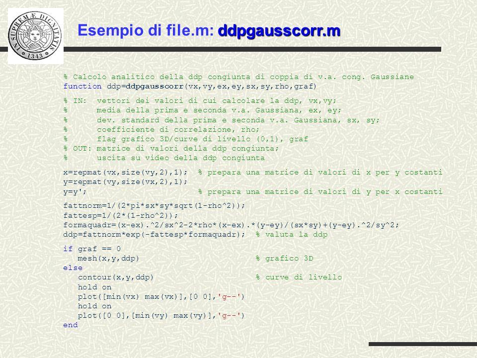 gengausscorr1.m Esempio di file.m: gengausscorr1.m % Generazione coppie di v.a.