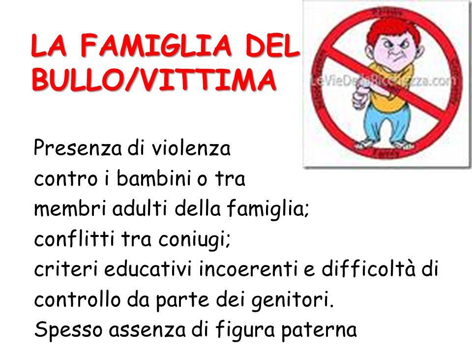 LA FAMIGLIA DEL BULLO/VITTIMA Presenza di violenza contro i bambini o tra membri adulti della famiglia; conflitti tra coniugi; criteri educativi incoe