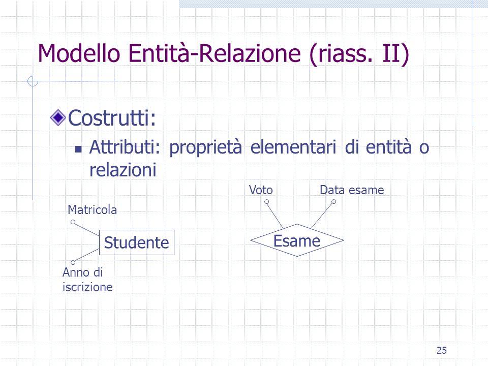 25 Modello Entità-Relazione (riass. II) Costrutti: Attributi: proprietà elementari di entità o relazioni Studente Anno di iscrizione Matricola Esame V