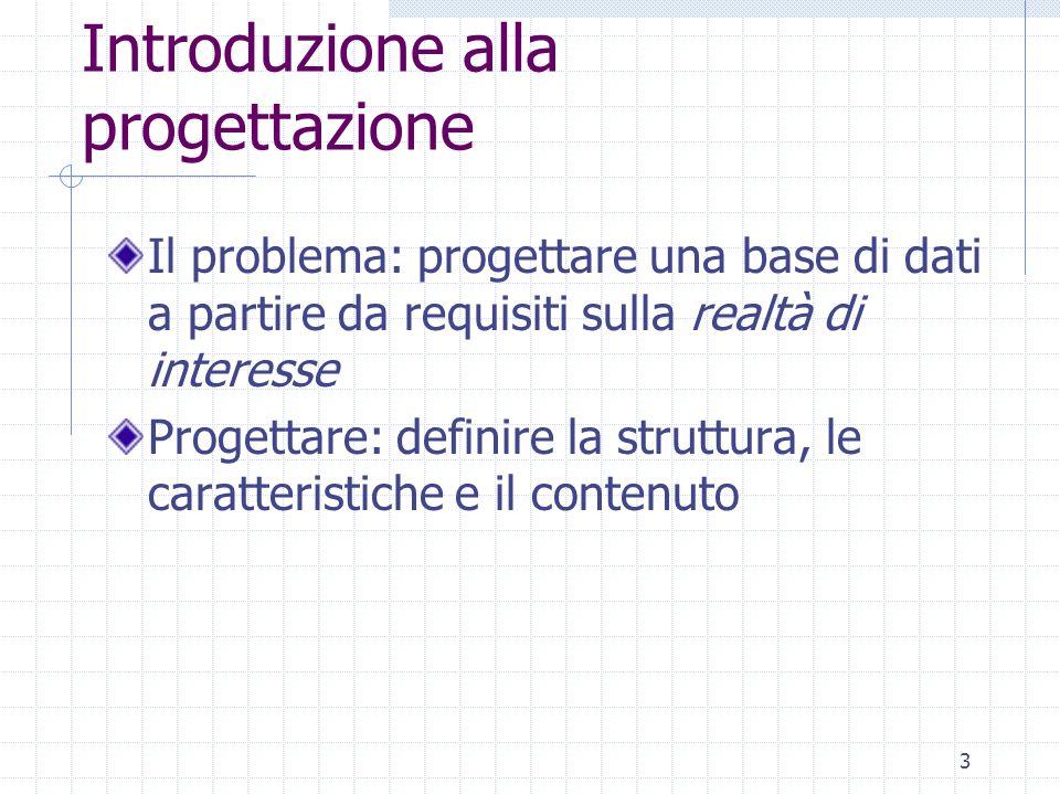3 Introduzione alla progettazione Il problema: progettare una base di dati a partire da requisiti sulla realtà di interesse Progettare: definire la st