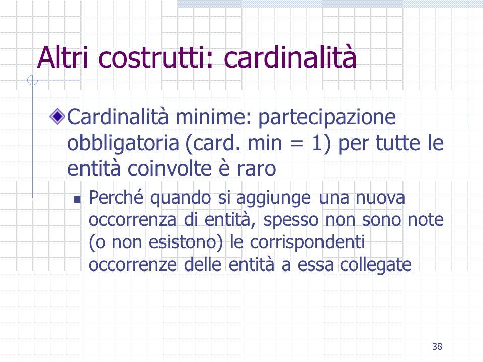 38 Altri costrutti: cardinalità Cardinalità minime: partecipazione obbligatoria (card. min = 1) per tutte le entità coinvolte è raro Perché quando si
