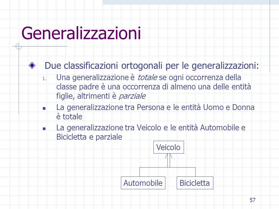 57 Generalizzazioni Due classificazioni ortogonali per le generalizzazioni: 1. Una generalizzazione è totale se ogni occorrenza della classe padre è u
