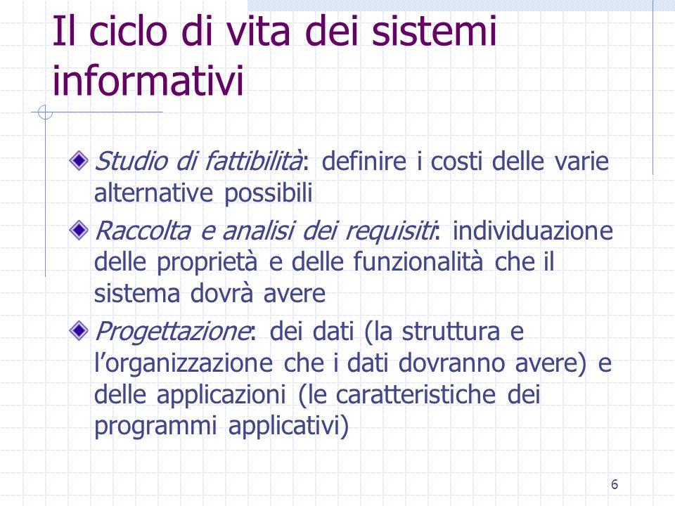 7 Il ciclo di vita dei sistemi informativi Implementazione: realizzazione del sistema informativo Validazione e collaudo: serve a verificare il corretto funzionamento e la qualità del sistema informativo Funzionamento: il sistema informativo diventa operativo