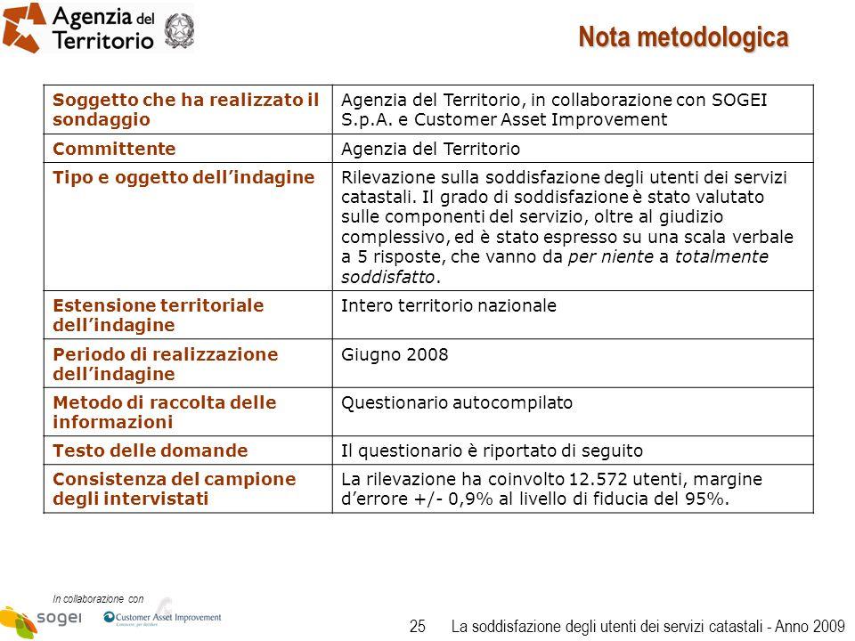 25 In collaborazione con La soddisfazione degli utenti dei servizi catastali - Anno 2009 Soggetto che ha realizzato il sondaggio Agenzia del Territorio, in collaborazione con SOGEI S.p.A.