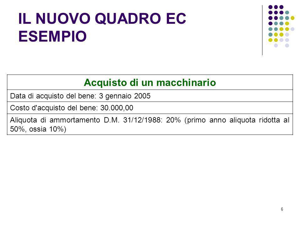 6 Acquisto di un macchinario Data di acquisto del bene: 3 gennaio 2005 Costo d'acquisto del bene: 30.000,00 Aliquota di ammortamento D.M. 31/12/1988: