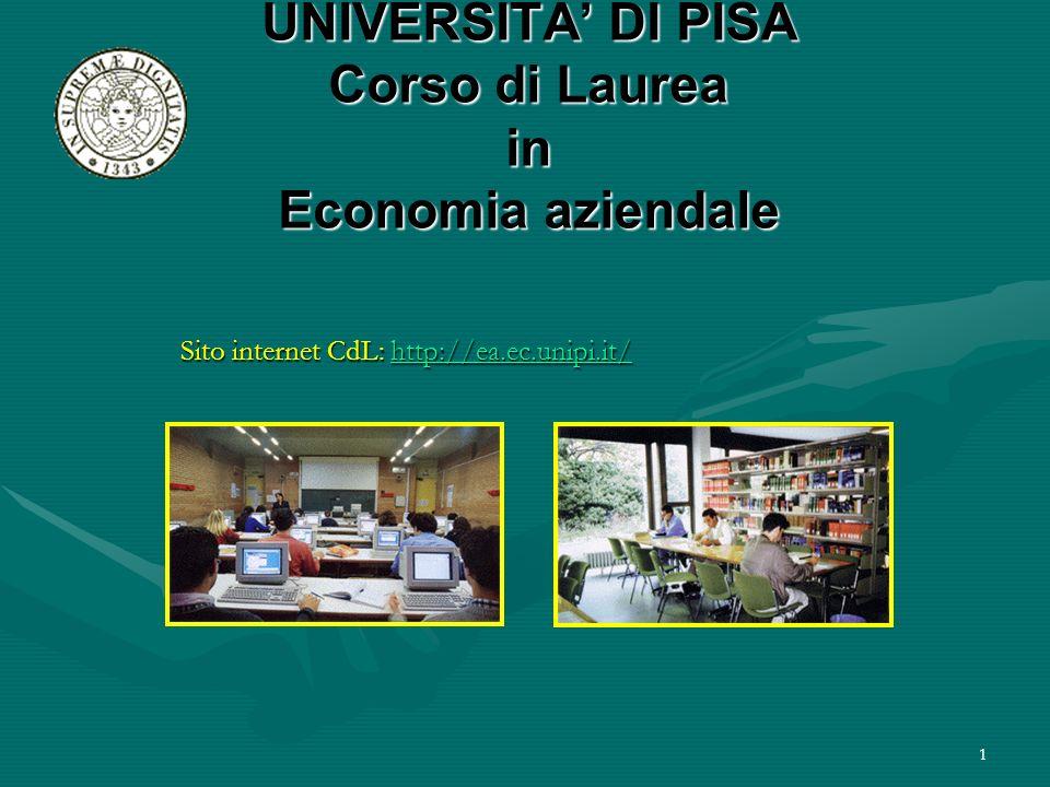 1 UNIVERSITA DI PISA Corso di Laurea in Economia aziendale Sito internet CdL: http://ea.ec.unipi.it/ http://ea.ec.unipi.it/