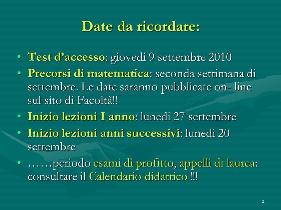 2 Date da ricordare: Test daccesso: giovedi 9 settembre 2010Test daccesso: giovedi 9 settembre 2010 Precorsi di matematica: seconda settimana di sette
