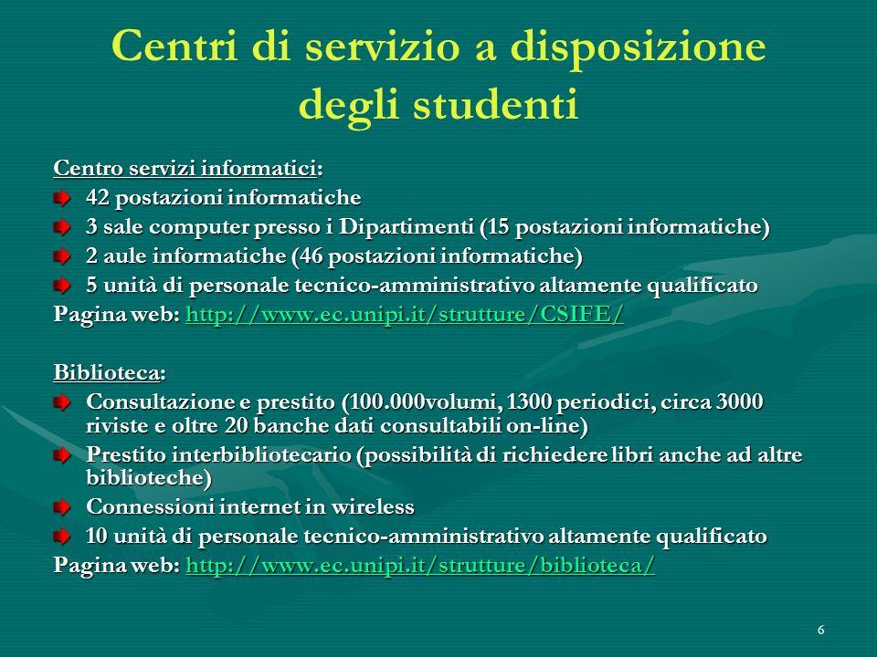 6 Centri di servizio a disposizione degli studenti Centro servizi informatici: 42 postazioni informatiche 3 sale computer presso i Dipartimenti (15 po