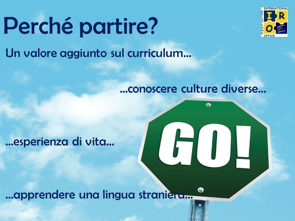 Perché partire? Un valore aggiunto sul curriculum… …conoscere culture diverse… …esperienza di vita… …apprendere una lingua straniera…