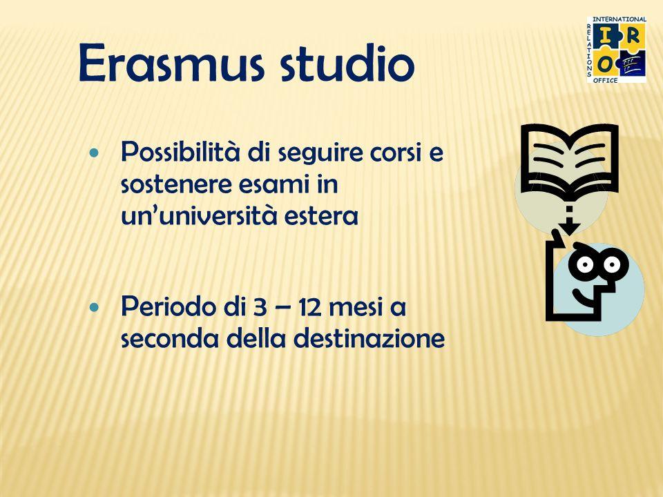 Erasmus studio Periodo di 3 – 12 mesi a seconda della destinazione Possibilità di seguire corsi e sostenere esami in ununiversità estera
