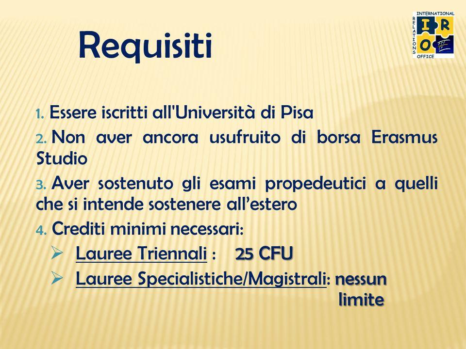 Requisiti 1. Essere iscritti all'Università di Pisa 2. Non aver ancora usufruito di borsa Erasmus Studio 3. Aver sostenuto gli esami propedeutici a qu