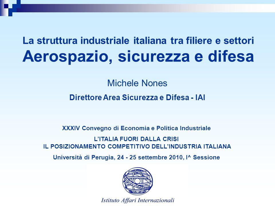 La struttura industriale italiana tra filiere e settori Aerospazio, sicurezza e difesa Michele Nones Direttore Area Sicurezza e Difesa - IAI XXXIV Con