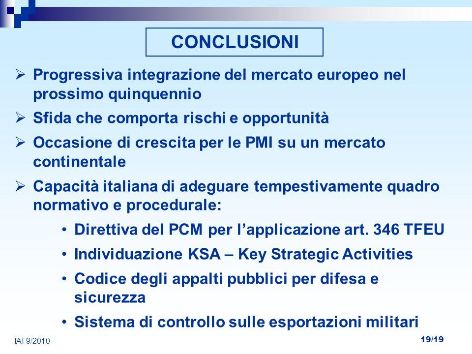 19/19 IAI 9/2010 CONCLUSIONI Progressiva integrazione del mercato europeo nel prossimo quinquennio Sfida che comporta rischi e opportunità Occasione d