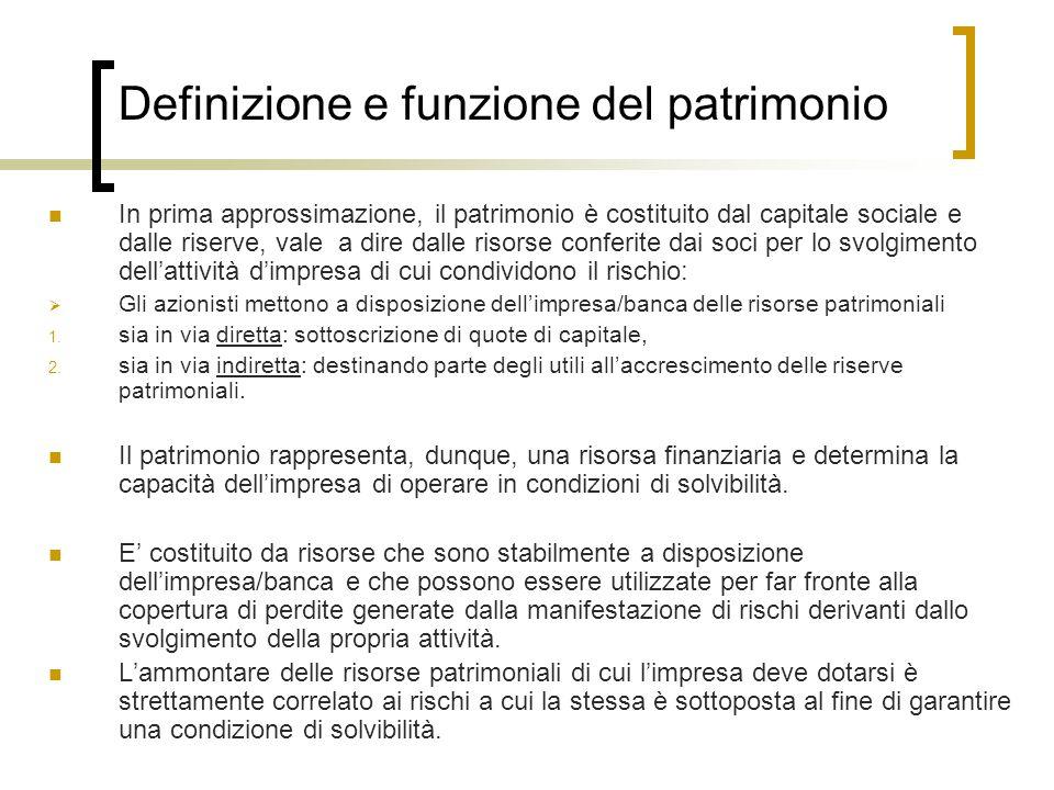 Definizione e funzione del patrimonio In prima approssimazione, il patrimonio è costituito dal capitale sociale e dalle riserve, vale a dire dalle ris