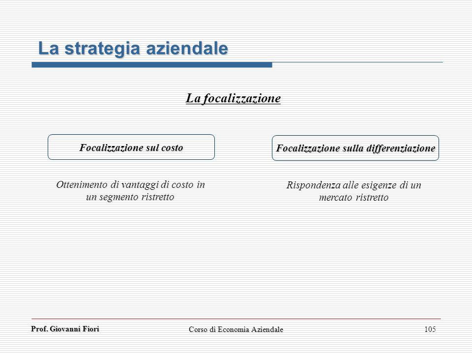 Prof. Giovanni Fiori Corso di Economia Aziendale105 La strategia aziendale La focalizzazione Focalizzazione sul costo Focalizzazione sulla differenzia