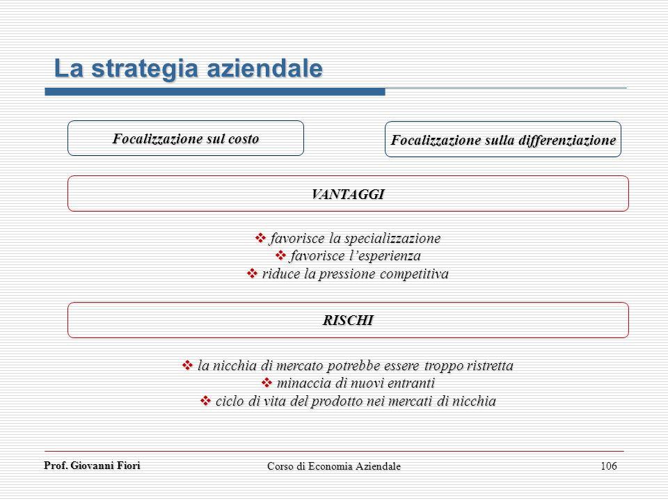 Prof. Giovanni Fiori Corso di Economia Aziendale106 La strategia aziendale Focalizzazione sul costo Focalizzazione sulla differenziazione VANTAGGI RIS