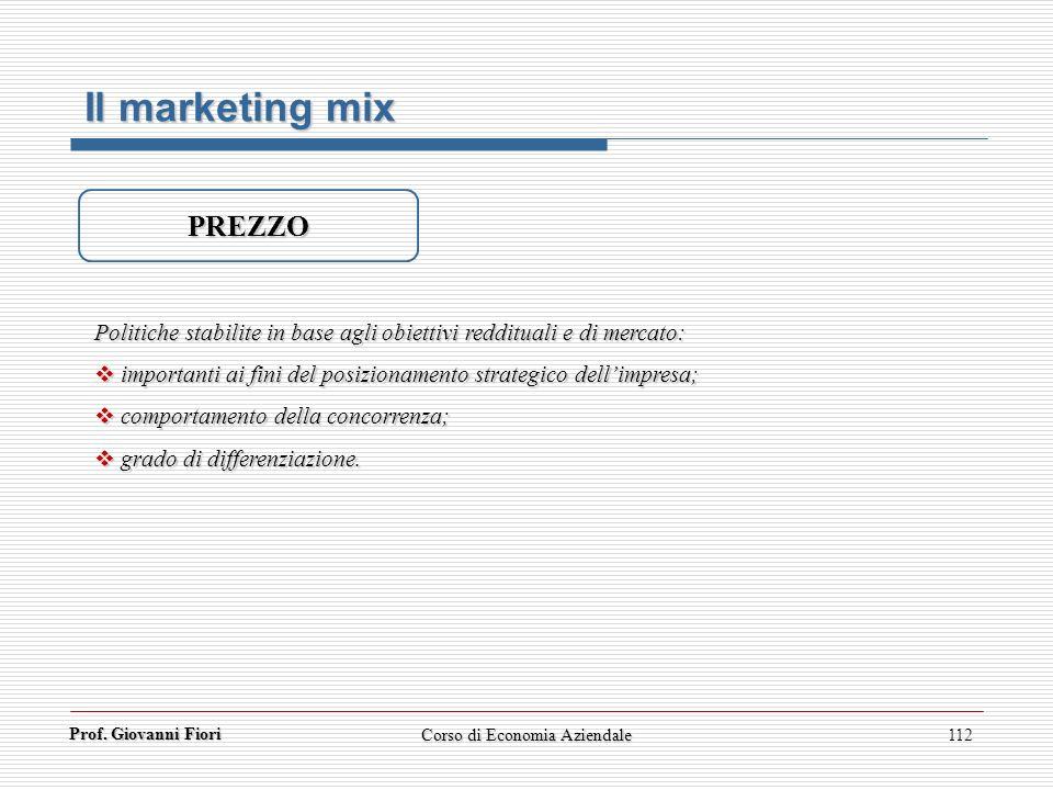 Prof. Giovanni Fiori Corso di Economia Aziendale112 Il marketing mix PREZZO Politiche stabilite in base agli obiettivi reddituali e di mercato: import