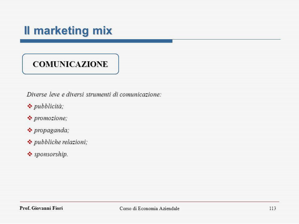 Prof. Giovanni Fiori Corso di Economia Aziendale113 Il marketing mix COMUNICAZIONE Diverse leve e diversi strumenti di comunicazione: pubblicità; pubb