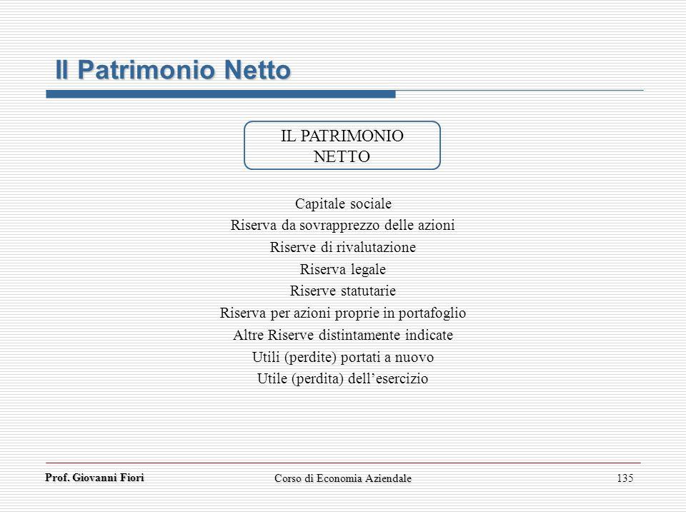 Prof. Giovanni Fiori 135 Il Patrimonio Netto IL PATRIMONIO NETTO Capitale sociale Riserva da sovrapprezzo delle azioni Riserve di rivalutazione Riserv
