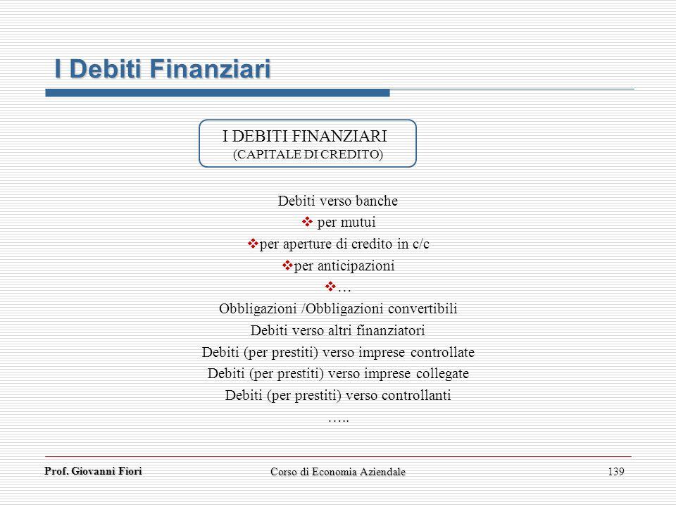 Prof. Giovanni Fiori 139 I Debiti Finanziari I DEBITI FINANZIARI (CAPITALE DI CREDITO) Debiti verso banche per mutui per aperture di credito in c/c pe